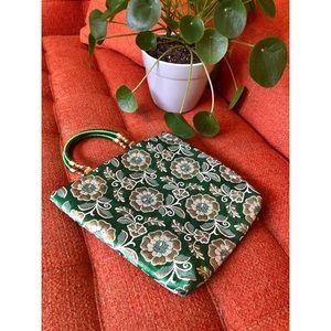 🌼NewToCloset Vtg Green and Gold  Satin Bag